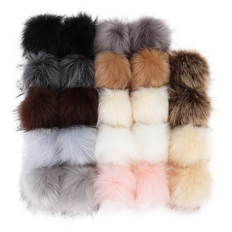24 Pcs Large 10cm  Faux Fur Pom Pom DIY KeyChain Rabbit Hair Bulb Bags Decor Winter Ball Women Car Bag Key Ring Keychain#G7