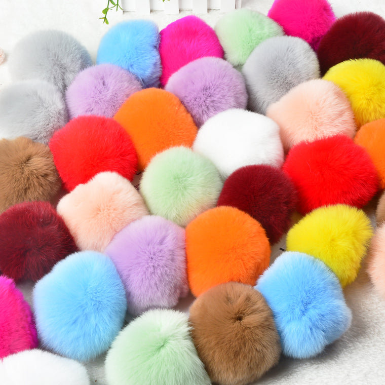 100 pcs 5CM Lovely faux Bunny Fur ball Keychain Imitation Rex Rabbit Hair Ball Keyring Wool Like Ball for Shoe Decoration