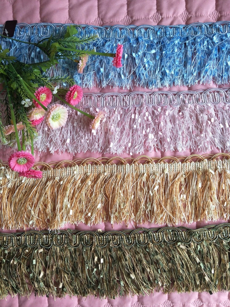10 Yard/Lot 10CM Wide Polyester Lace Tassel Fringe Lace Trim Ribbon Sew Latin Dress Stage Garment Curtain DIY Accessories CR028