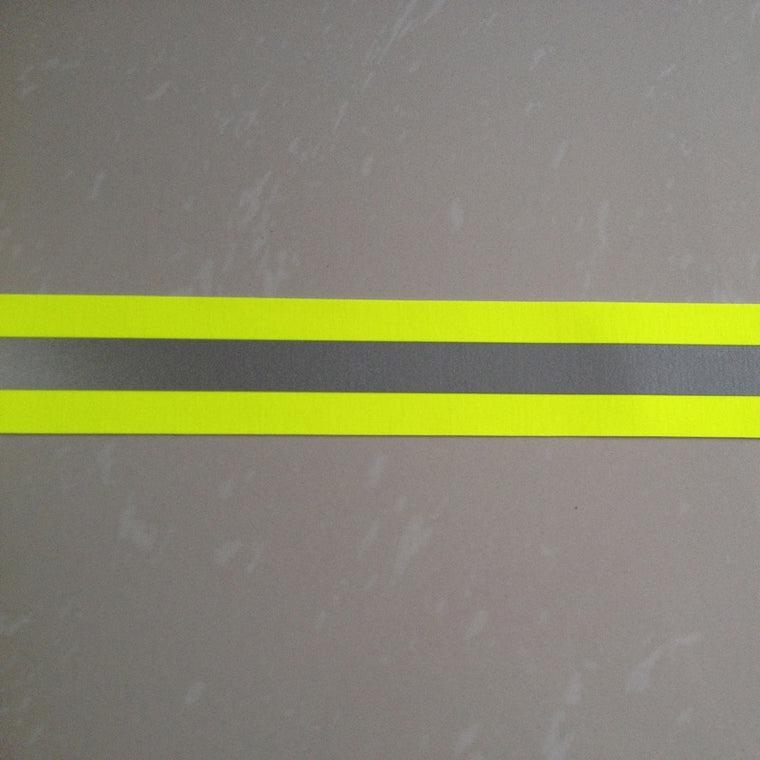 "2""x16.4' Fluorescent Yellow Flame Fire Retardant Reflective Fabric Warning Tape Edging Braid Trim Sew On for Clothes Pants Bag"