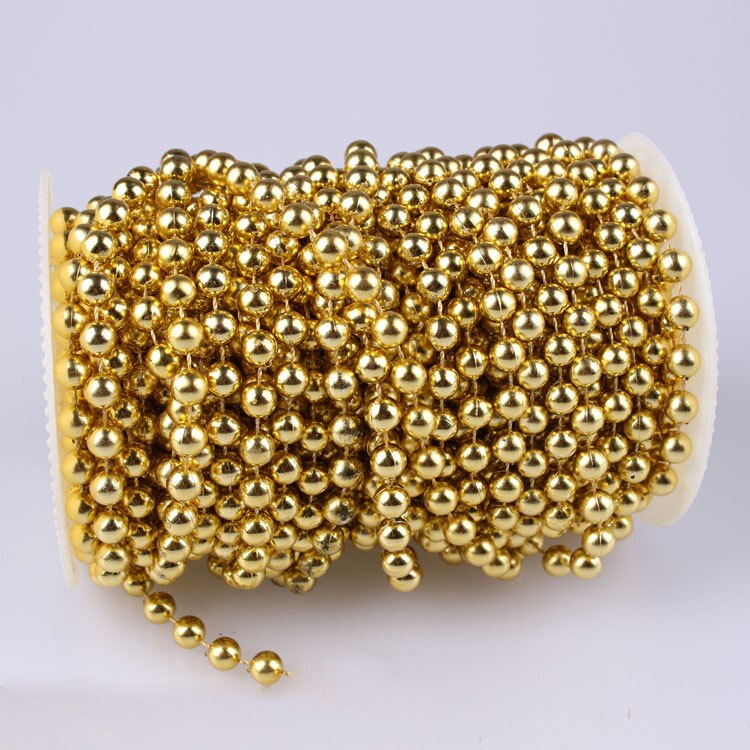 (6 Reels/lot )  8mm X High Quality 20 yards Gold Round Bead TRIM , Pearls On Reel  For Fashion Apparel