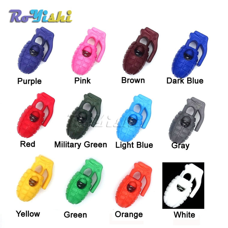 100pcs/pack  Mix Colors For Pick Cord Lock Stopper For Paracord Plastic Hand Grenade Style toggle