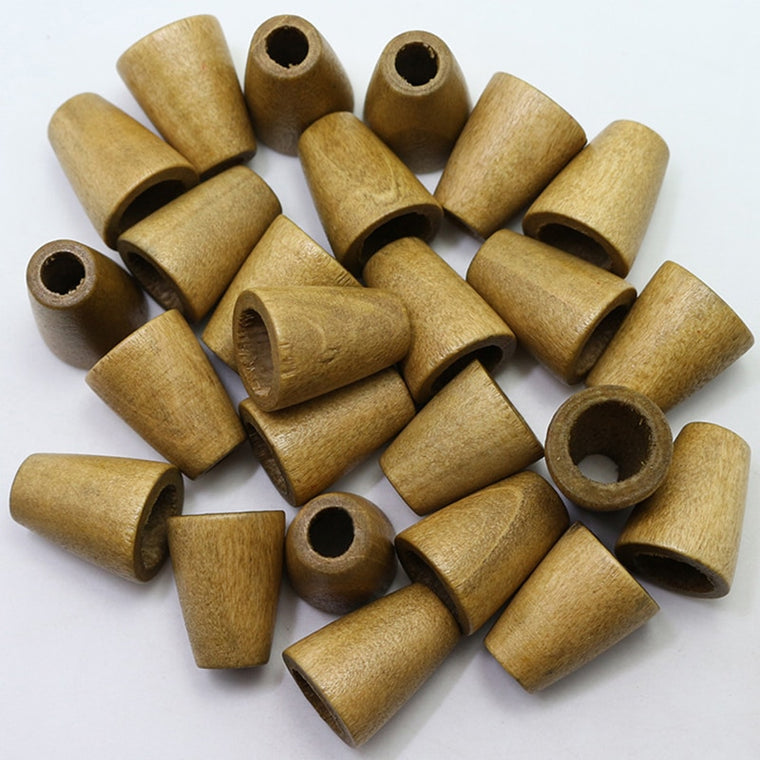 100 pcs/lot Wooden Conical Shape Cord End Jewelry Making Hat Jacket Accessory DIY Craft Supply 4 Colors 10x14x20 mm