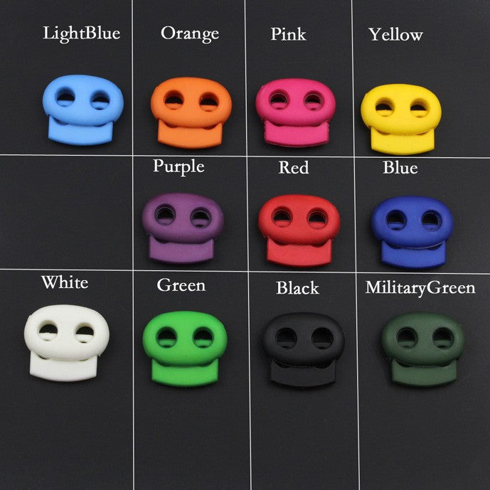 1000pcs Pack Plastic Mixed Color Mini Cord Lock Bean Toggle Stopper 2 hole For apparel Shoelace #MB0064