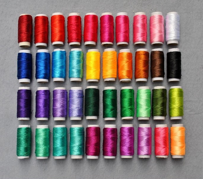40pcs/lot 8g/pcs Multicolor Ice Silk Embroidery Thread Sewing Embroidery Cross Stitch Silk Threads Embroidery Line For Handmade