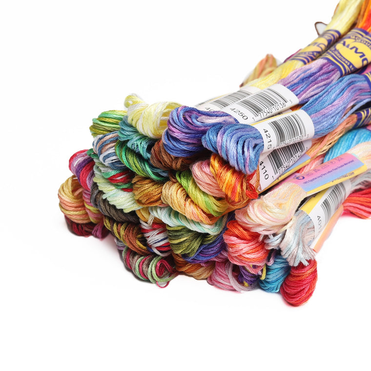 41 Variegated Colors Mercerized Egyptian Cotton Embroidery Floss 8 meters per skein Color Variation Cross stitch Thread
