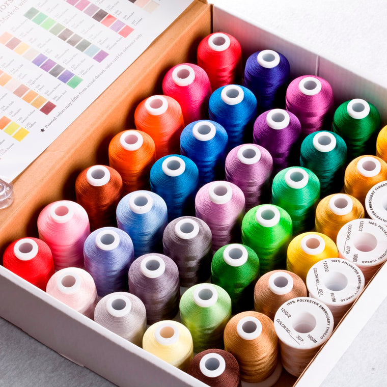 40 Brother Colors Polyester Embroidery Thread For Brother/Babylock/Janome Machine 550Y Mini Cones With High Quality