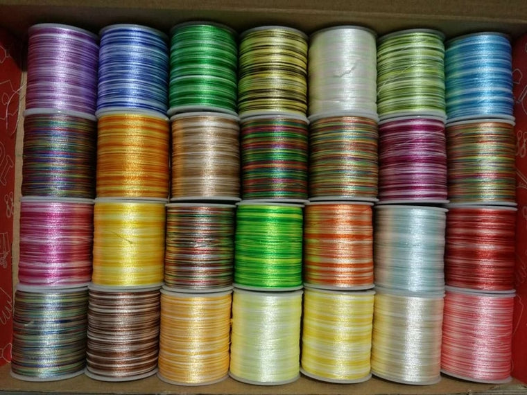 108D/2 28PCS/lot Coloured Polyester Embroidery Thread Sewing Embroidery Cross Stitch Silk Threads Embroidery Line For Handmade