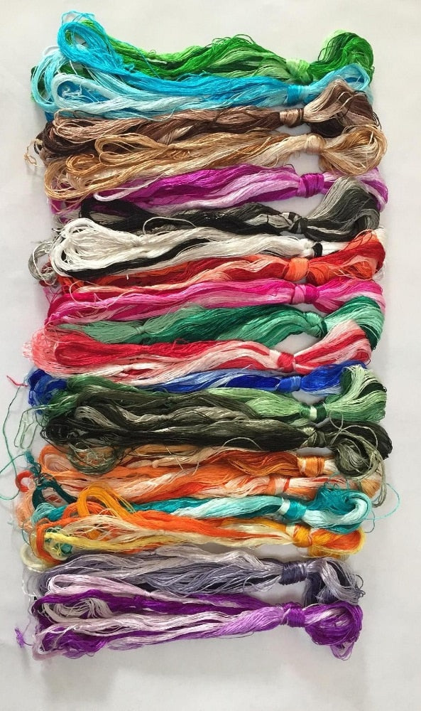 100 colors Hand-dyed 100% natural mulberry silk embroidery floss threads for hand embroidery DIY craft