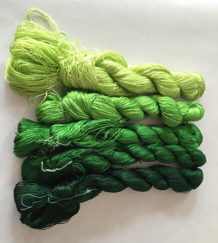 5 skeins hand-dyed Chinese natural mulberry silk embroidery thread floss 440m per skein #1