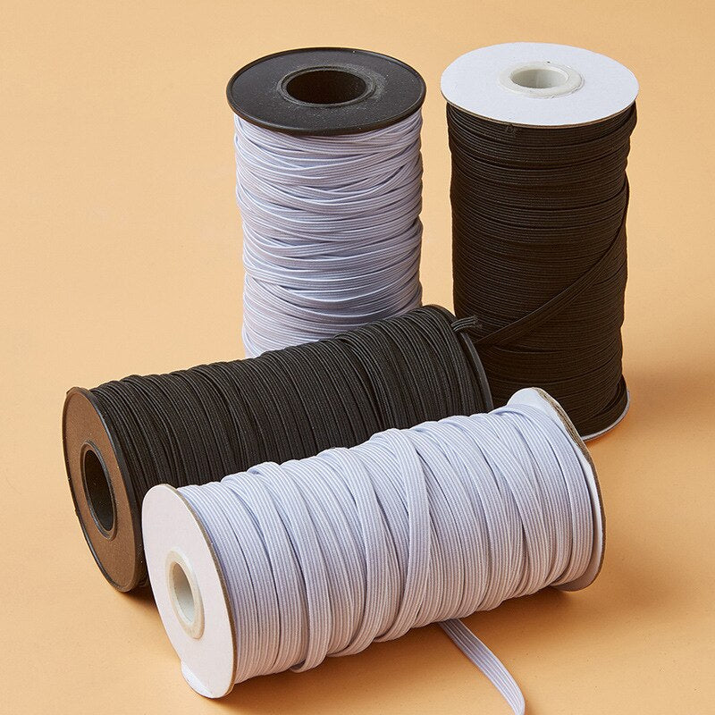 "1/4""(6mm) White black elastic ribbon high quality 1 roll 90 meters,sewing stretch band DIY handmade materials wedding gift wrap"