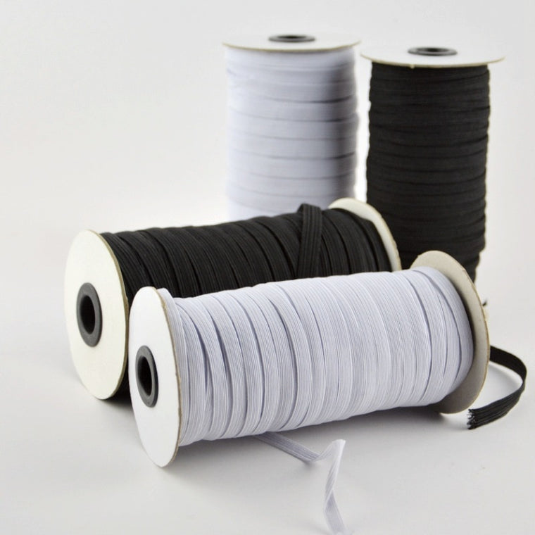 1 Roll Elastic bands 3/5/6/8/10/12mm width polyester elastic bands for clothes garment sewing accessories white and black