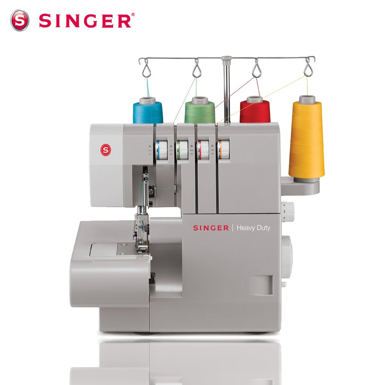 Singer 14HD854 Overlock Sewing Machine Multi-functional Electrical Double Needle 4-line Foot Pedal Tension Adjustable