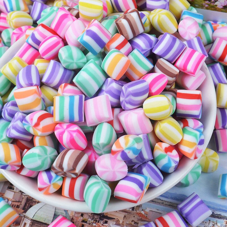 100pcs/lot 10mm kawaii Colorful Chew Gum Candy polymer clay Cabochon For Scrapbook Craft Embellishment DIY Phone Decoration