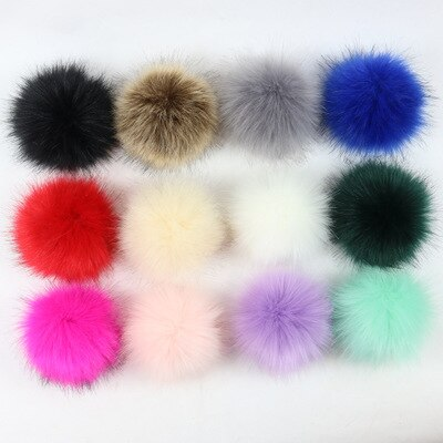 Faux Fur Pompom For Women Hat Fox Fur Pom Poms for Hats Caps Big Natural Raccoon Fur Pompon for knitted hat cap beanies