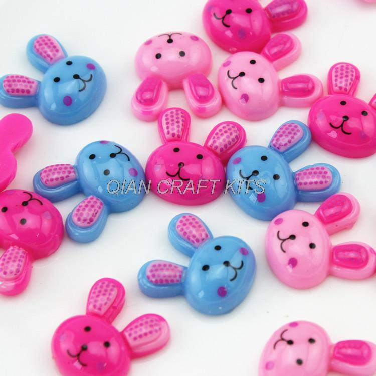 200pcs of Easter Bunny Resin Flatback Cabochons Flat Back mixed cameo covers- Bobby Pins, Flower Rings, Pendants 20mm rabbit