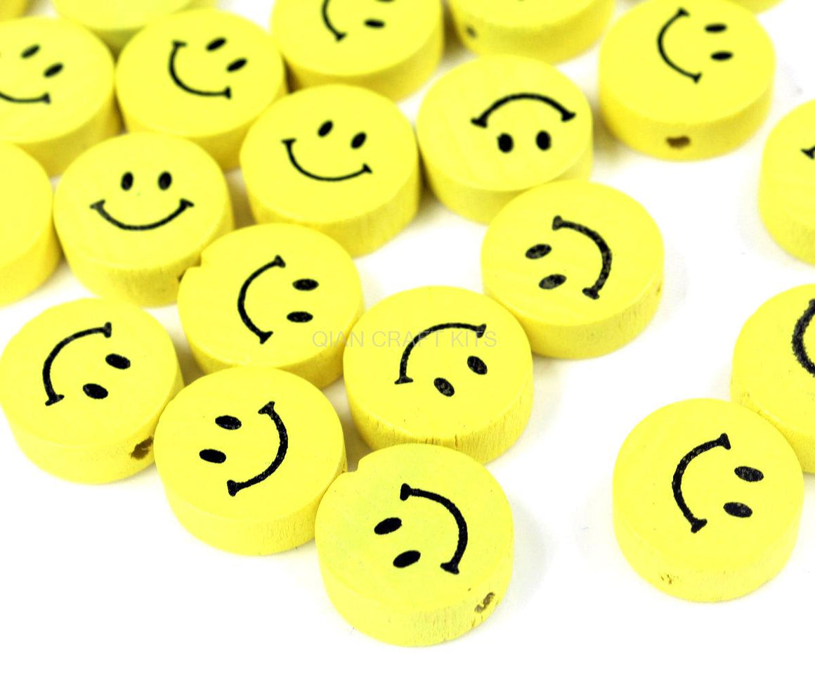 300pcs yellow color smiley face beads  17mm, wooden Yellow Smiling Wood Beads with holes for stringing