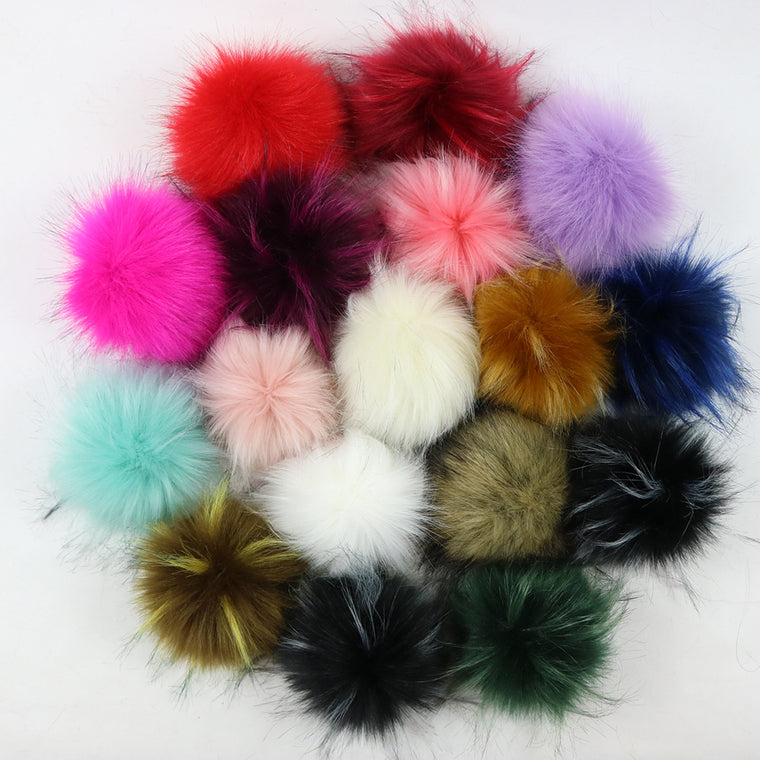 10pcs 8-15cm Fluffy Faux Fox Fur Ball with snap for hats Pompom Ball Hat Pom pom Women Bag Car Pendant Jewelry