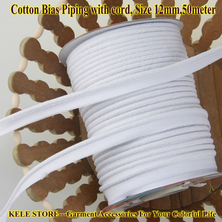 "Free shipping-Cotton Bias Piping, Piping tape,bias Tape with cord,size:12mm,1/2"" 50yds,for DIY garment handmade,optical White"