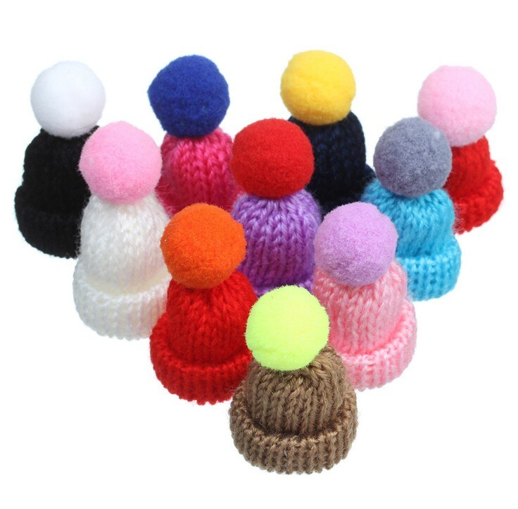 Mini DIY craft Crochet Hat Baby Shower Mini Knitting Ornament Cap Favors  For handmade Decorations