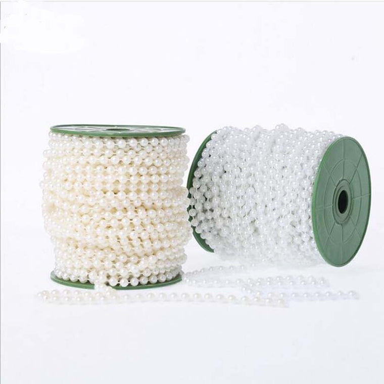 40Meters/Roll  DIA 4MM White Beige Artificial Pearls Bead Garland Spool Rope Table Centerpiece Wedding Party Home Decoration