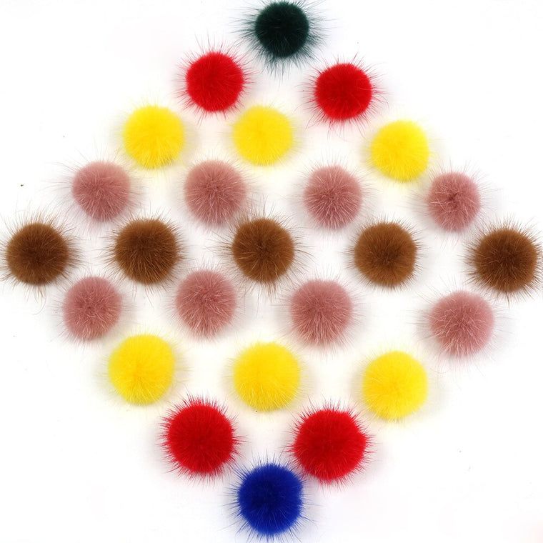 50pcs/lot DIY mix color 3cm Real mink Fur pom poms fur balls for earrings and hair accessories scarf real fur pompoms