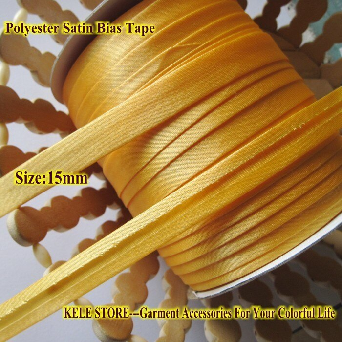 Free shipping--Polyester Bias Tape size: 15mm ,Gold yellow for DIY making,Garment Accessories,handmade for dress sewing material