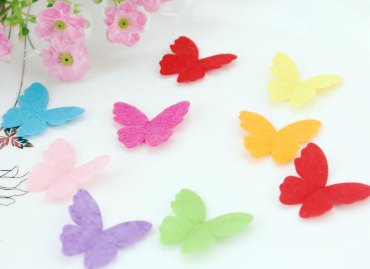 set of 1000pcs rainbow felt pack butterfly shape nonwoven applique multiple color wholesale free shipping 29x26mm by0127