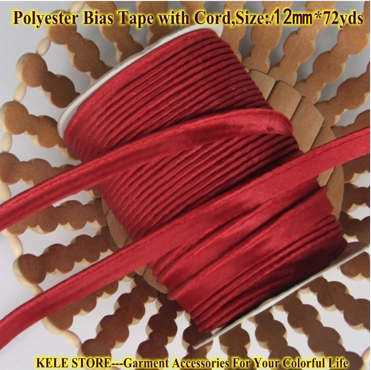 "Free Shipping-Polyester satin Bias Tape with cord,Piping tape, bias cord,size:12mm,1/2"", 72yds for DIY garment,DIY hand,wine red"