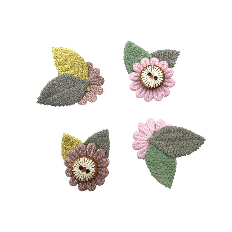 200PCS Sun Flower Appliques for Kids Hair Clips Fashion Needlework knitting Patches for Girls Hair Accessories