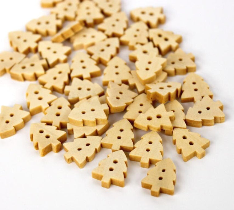 500pcs Christmas Tree Wooden Buttons Beige. Natural wood color. Small buttons diy 13mm