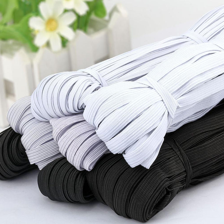 10Meter 3/6/9/10/12MM Sewing Elastic band Masks White Black High Elastic Flat Rubber Band Waist Band Sewing Rope for DIY Mask
