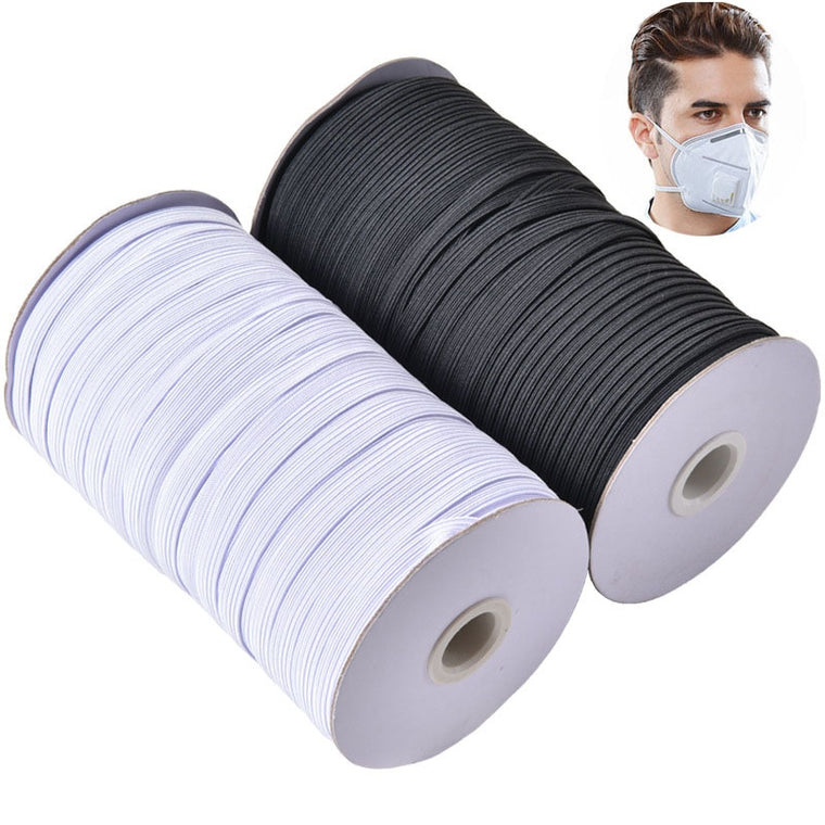 1 Roll Masks Elastic Bands 3mm 6mm 8/10/12mm White Black Nylon Rubber Band Waist Band Garment Sewing Accessories DIY Mask Craft