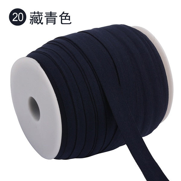 100m*15mm Elastic edging belt Solid Color Shiny Fold Over Elastic FOE Spandex Band Kids Hair Tie Headband Dress Lace Trim Sewing