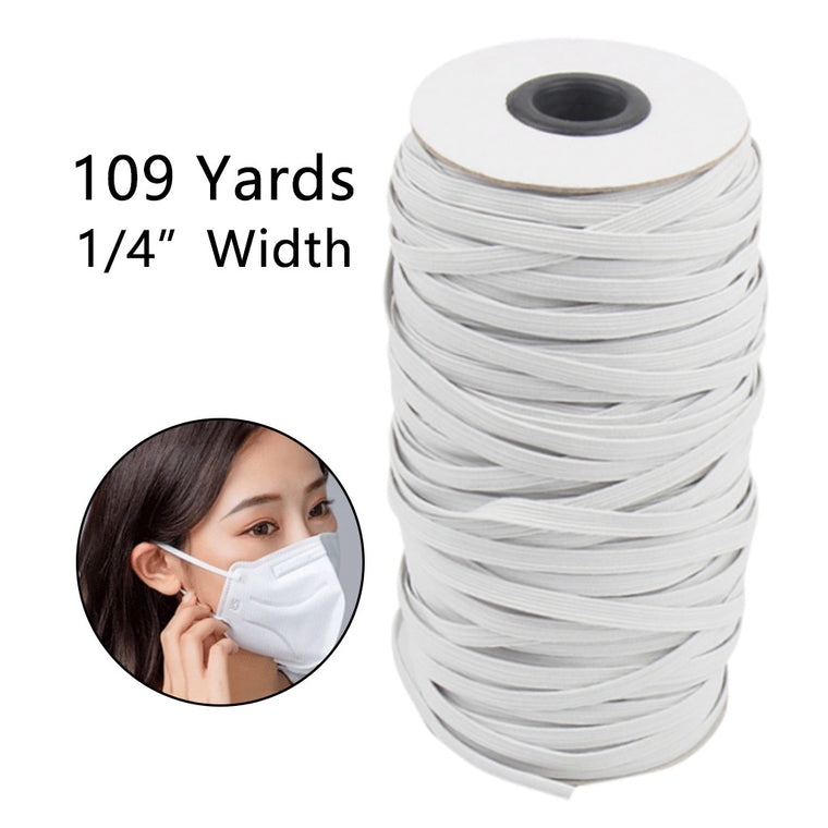 109 Yards Length 1/4 Inch Width Braided Elastic Band White Elastic Cord Heavy Stretch High Elasticity Knit Elastic Band for sew