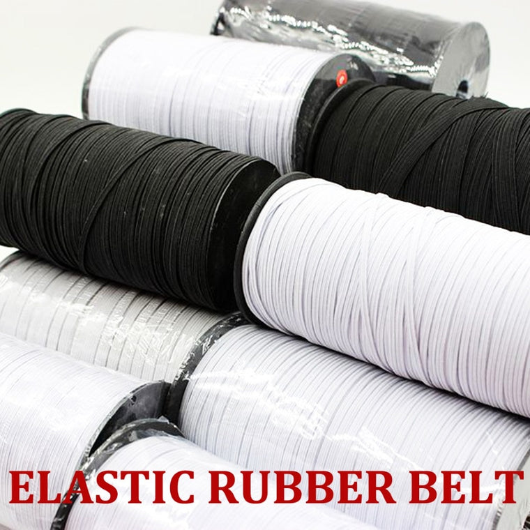 3mm/6mm Black/White Flat Elastic Band Rubber Rope Belt Sewing Accessories Cloth Shoe/Hat/Glove/Underwear 10/20/50yard