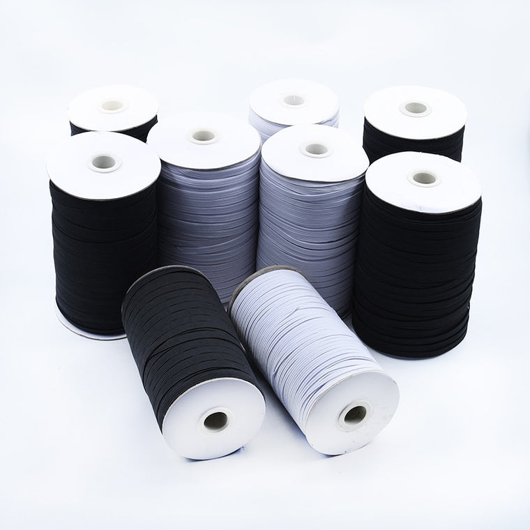 Elastic Bands 5Meters 3/6/8/10/12/15/25/30/35/40MM White Black Nylon Elastic Band Garment Trousers Sewing Accessories DIY Crafts
