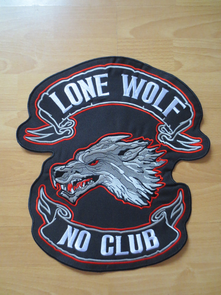 14 inches lone wolf no club broadsword large Embroidery Patches for Jacket Back Vest Motorcycle Biker