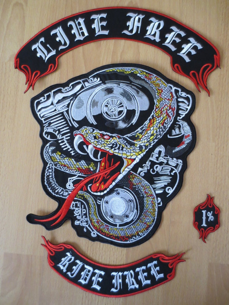 17 inches big snake large Embroidery Patches for Jacket Motorcycle Biker