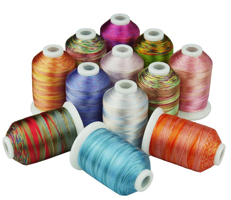 12 Multi-colors Embroidery Thread 1000 Meters each for machine/hand sewing quilting overlocking on any home machines