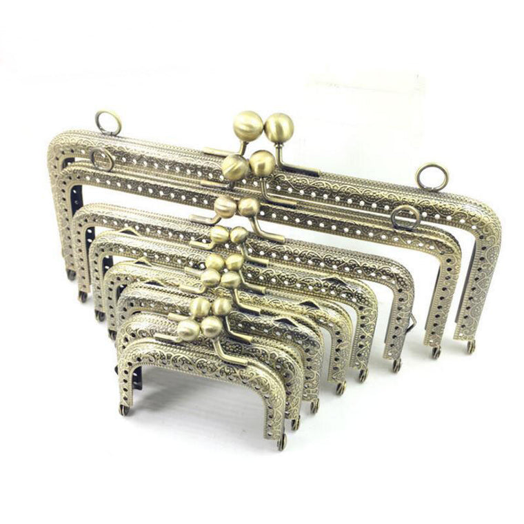 10pcs 6.5 7.5 8.5 10.5 12.5 15 18 20cm Metal Buckle for Bag DIY handmade Metal Purse Frame with Kiss Lock wedding clutch frame