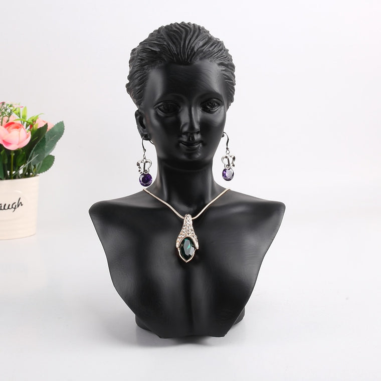 New 1PC Realistic Girl Mannequin Head Eardrop Necklace Resin Mold Stand Black handiwork