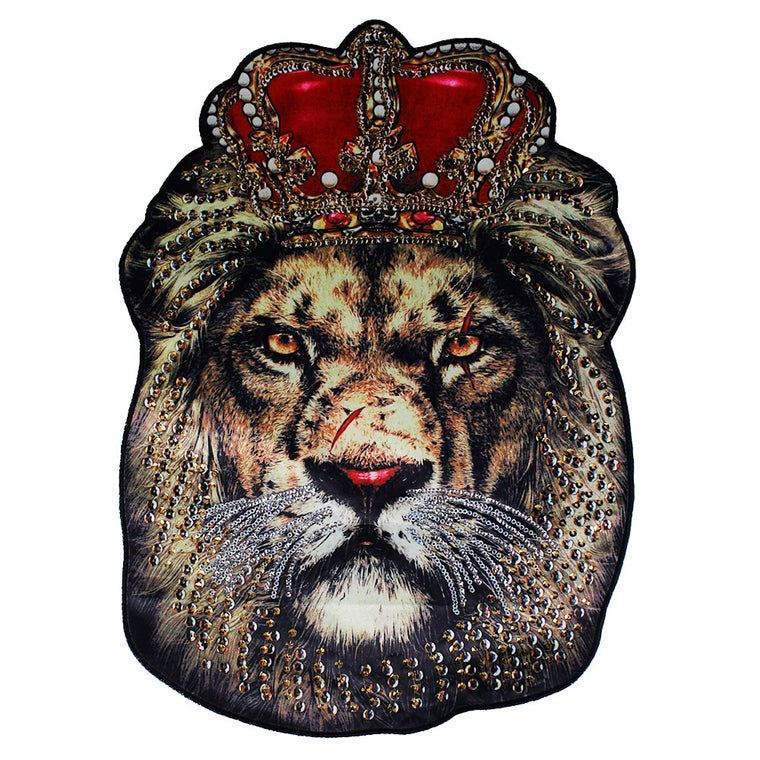 10pieces Sequin Large Big Lion King Head Fabric Patches Animal Applique Badges DIY Sewing on Jacket Apparel Accessories TH914