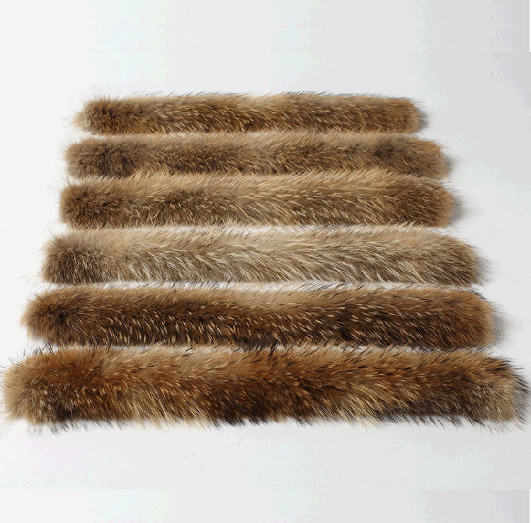 70CM Natural Real Raccoon Fur material for Collar Scarf Genuine Fur Scarves Clothing decoration