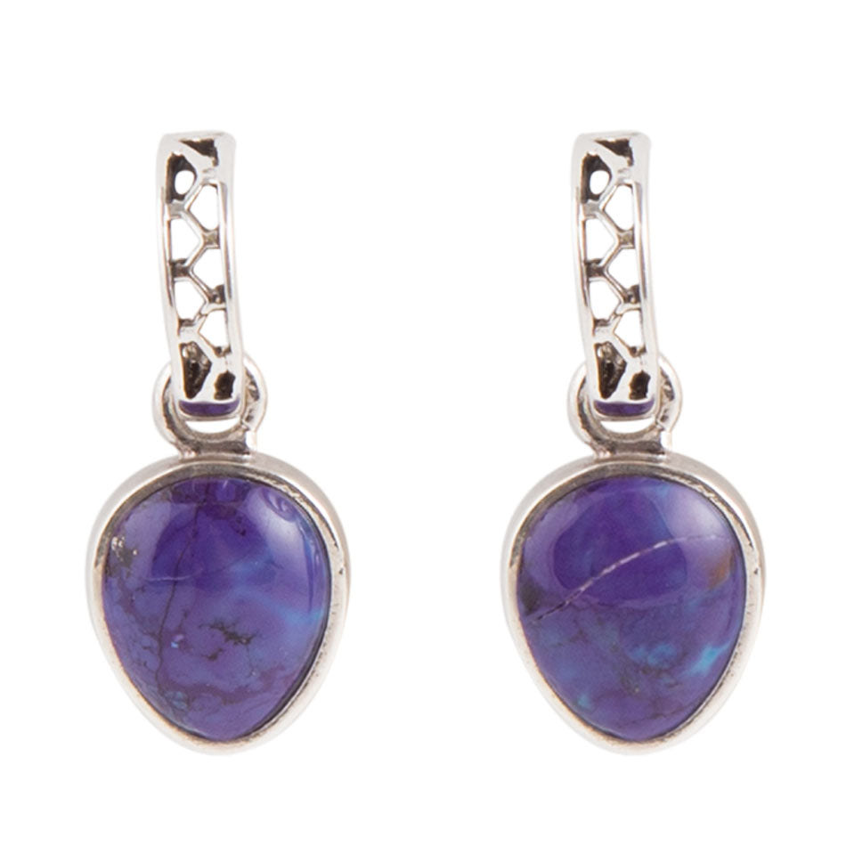 Purple Turquoise Post Earring - Sterling