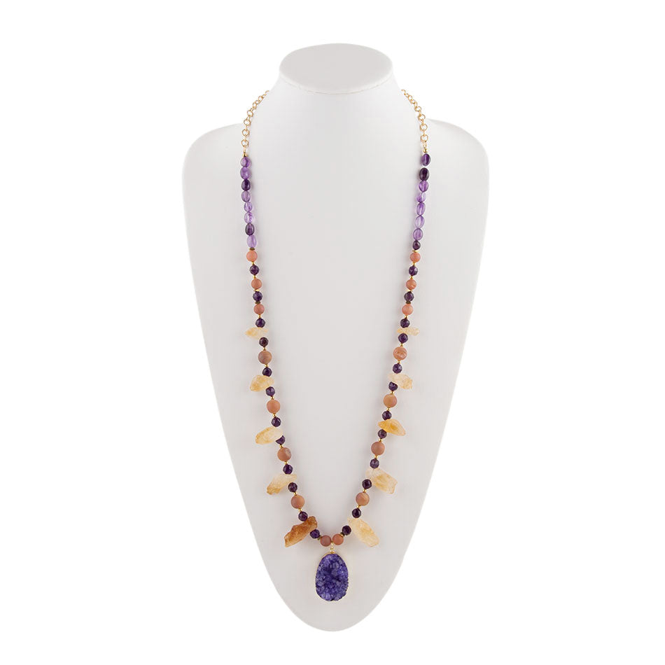 Amethyst Drusy Citrine Necklace