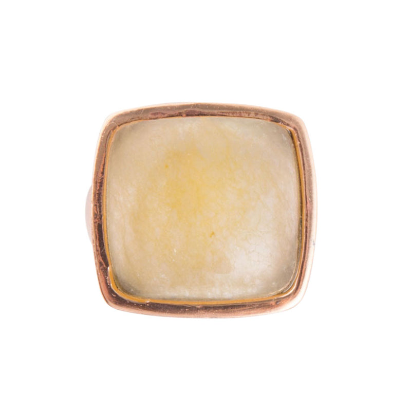 Yellow Chalcedony and Copper Ring
