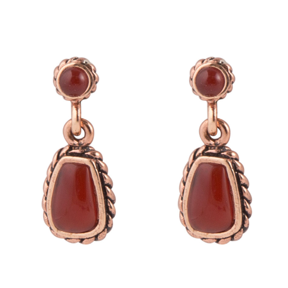 Hinged Carnelian Copper Earring