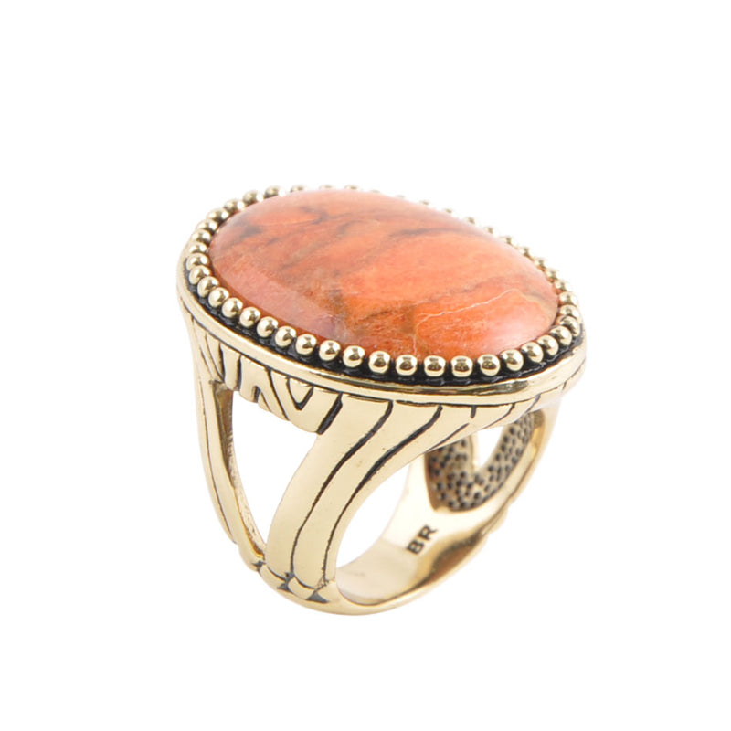 Orange Coral Statement Ring