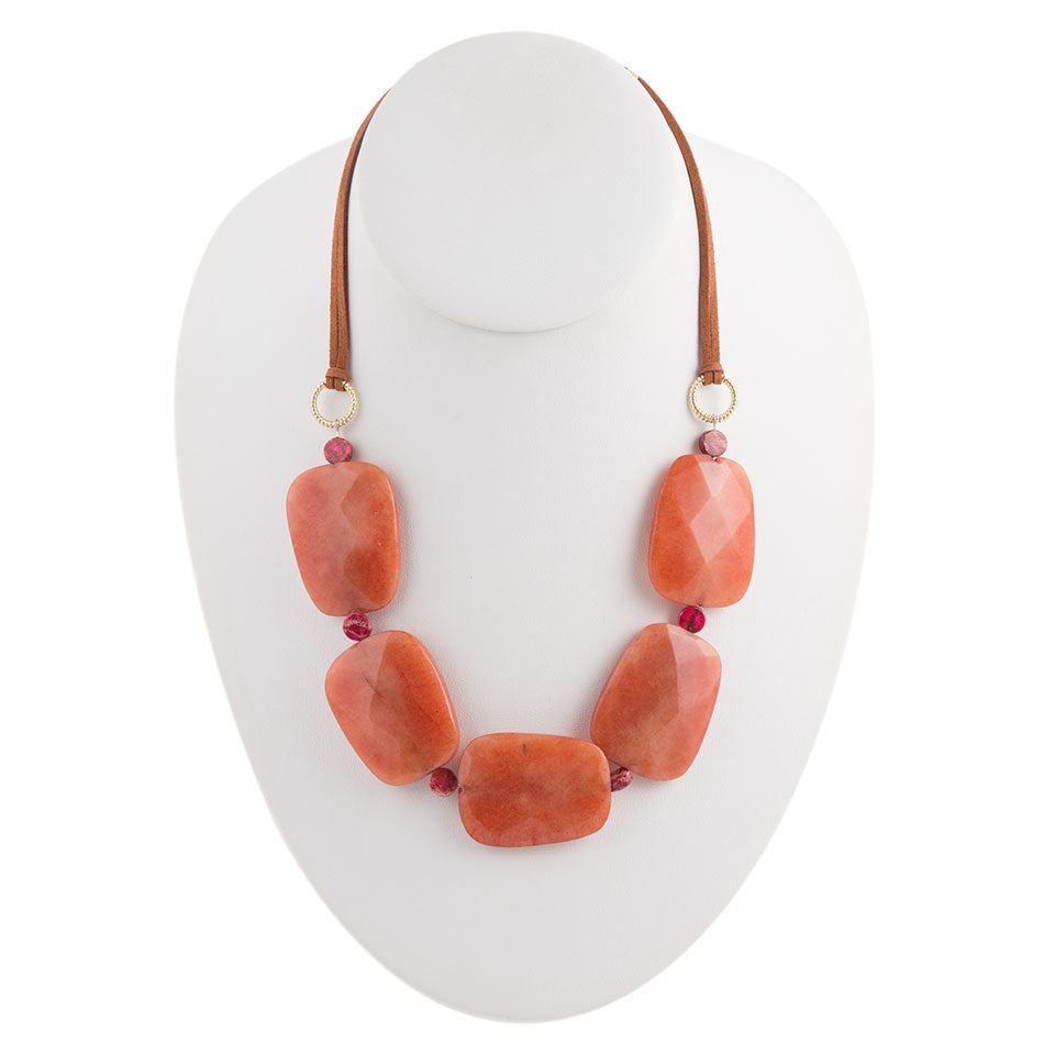 Leather and Jade Necklace